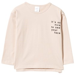 Tinycottons Text Graphic Long Sleeve Oversized Tee Beige