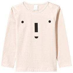 Tinycottons Big Face Graphic Long Sleeve Tee Beige/Black