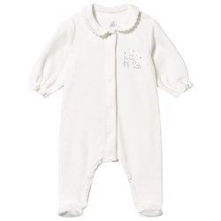 Petit Bateau Velour Footed Baby Body Lait