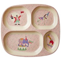 RICE A/S Melamine Divided Plate Circus Print/Soft Pink Soft Pink