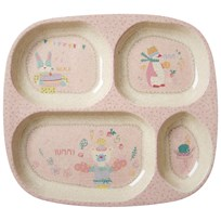 RICE A/S Bambu Melamin Tallrik med Fack Girls Cooking Print Soft Pink