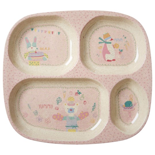 Rice Bamboo Melamine Divided Plate Girls Cooking Print Soft Pink