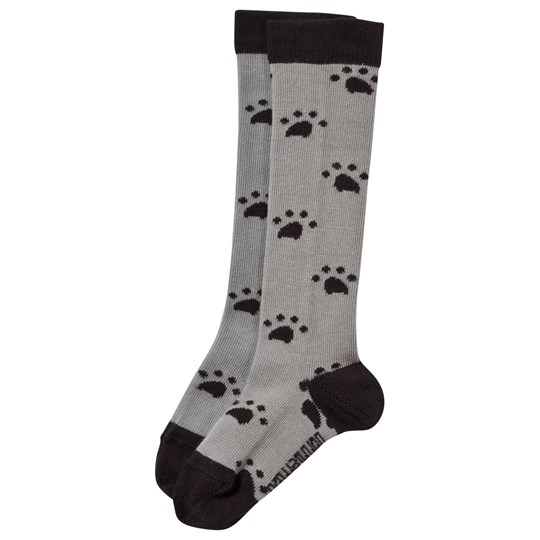 The Bonnie Mob Knee Length Paw Print Socks Grey Black