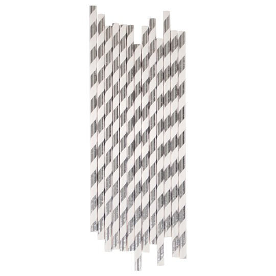 My Little Day 25 Paper Straws - Silver Foil silver stripes