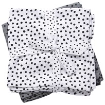 Done by Deer Burp Cloth 2 Pack Happy Dots Grey Black