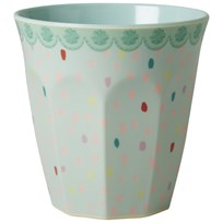 RICE A/S Melamine Medium Cup Two Tone with Raindot Print Multi