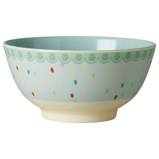 Rice Melamine Bowl Two Tone with Raindot Print Multi