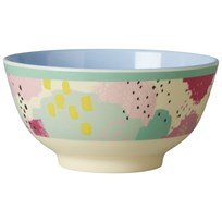 Rice Melamine Bowl Two Tone with Splash Print Multi