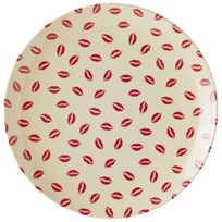 RICE A/S Melamine Dessert Plate with Kiss Print White/Red