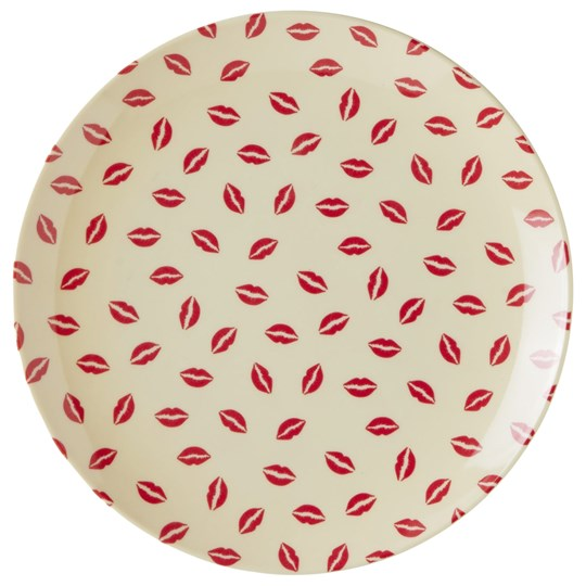 Rice Melamine Dessert Plate with Kiss Print White/Red