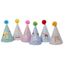 RICE A/S Kids Partyhatt i Papper Pompom 6 Assorted Prints Multi