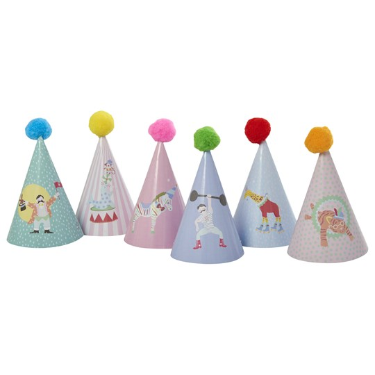 Rice Kids Paper Party Hat with Pompom 6 Assorted Prints Multi