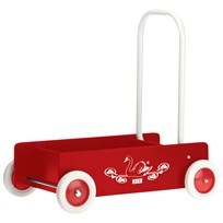 KREA Wooden Baby Walker Red Punainen