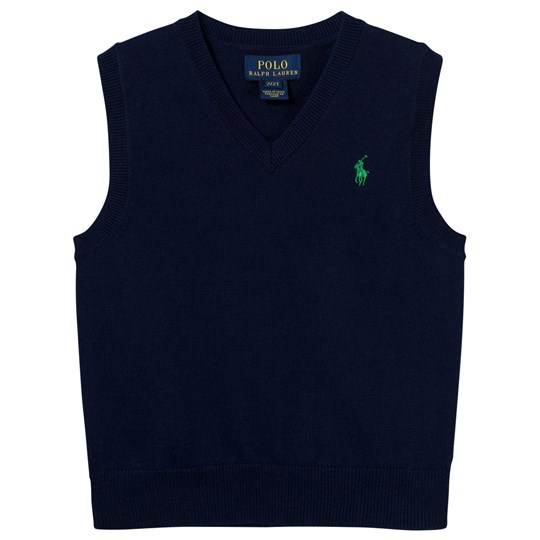 Ralph Lauren Cotton Sweater Vest Chateau Navy 001