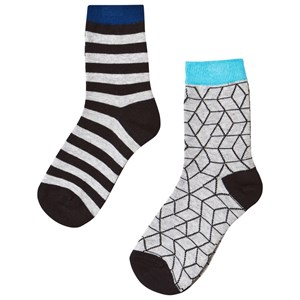 Image of Nova Star 2-Pack Grey Cube Socks 25-27 (2-4 år) (3031527177)