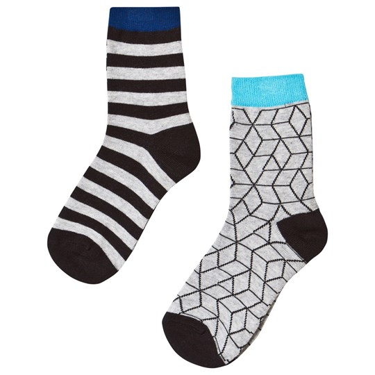 Nova Star 2-Pack Grey Cube Socks Black