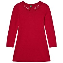 United Colors of Benetton Knit Collar Dress Red Rød