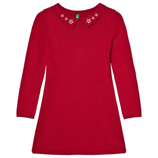 United Colors of Benetton Knit Collar Dress Red Red