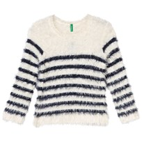 United Colors of Benetton Fuzzy Sweater Off White/Navy Off White Navy