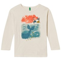 United Colors of Benetton Whale Print T-Shirt White Cream