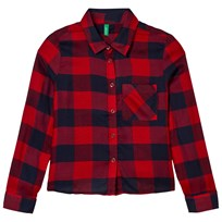 United Colors of Benetton Flannel Shirt Navy/Red Navy Red