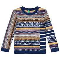 United Colors of Benetton Cotton Blend Sweater Navy Multi NAVY MULTI