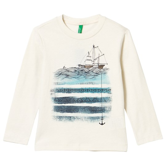 United Colors of Benetton Nautical Print T-Shirt Off White Off white