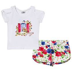 Mayoral White Floral Window Top Shorts Set
