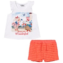 Mayoral White Puppy Print and Diamante Top and Ruffle Shorts Set 61