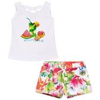 Mayoral Multi Tropical Print and Diamante Vest and Shorts Set 50