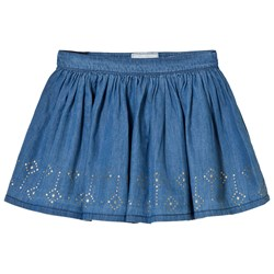Mayoral Chambray Jersey Studded Skirt