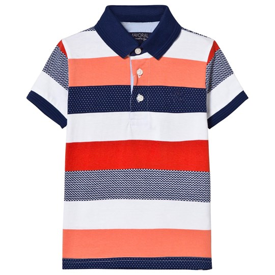 Mayoral Orange and Navy Stripe Polo 18