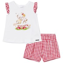 Mayoral Red Gingham and Bear Print Tee and Shorts Set 77