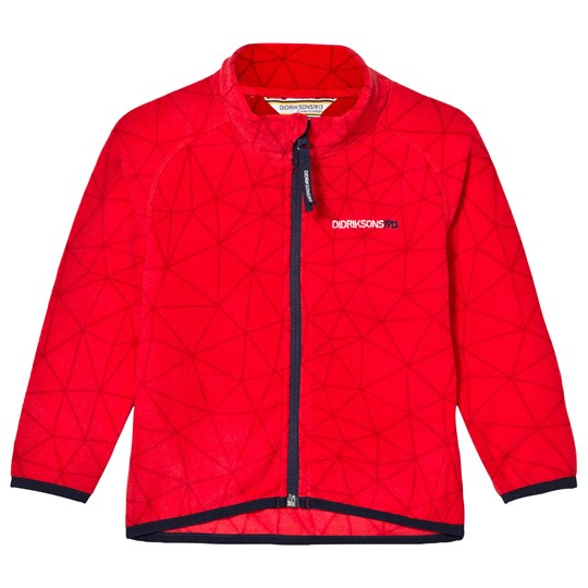 Didriksons Monte Kid's Printed Microfleece Jacket Tomato Red Tomato red