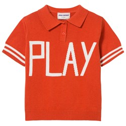 Bobo Choses Play Knit Polo Sweater Red Clay