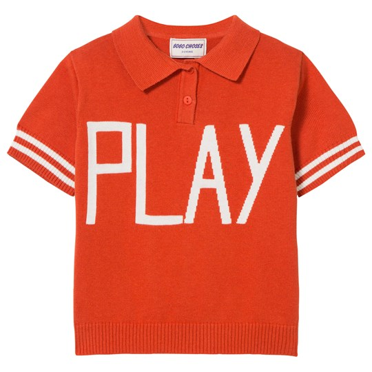 Bobo Choses Play Knit Polo Sweater Red Clay Red Clay