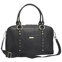 Storksak Elizabeth Leather Diaper Bag Black Black
