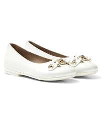 Young Versace White Medusa Plaque Pumps YS010