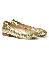 Chloé Gold Glitter Leather Ballerina Pumps 593