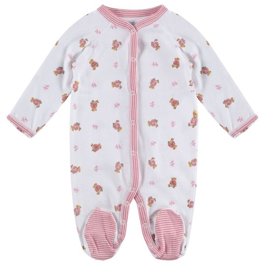 Ralph Lauren Girl Bear Coverall White Multi W/Paisley Pink