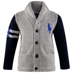 Ralph Lauren Lsl Big Pp Cardigan Fawn Grey Heather