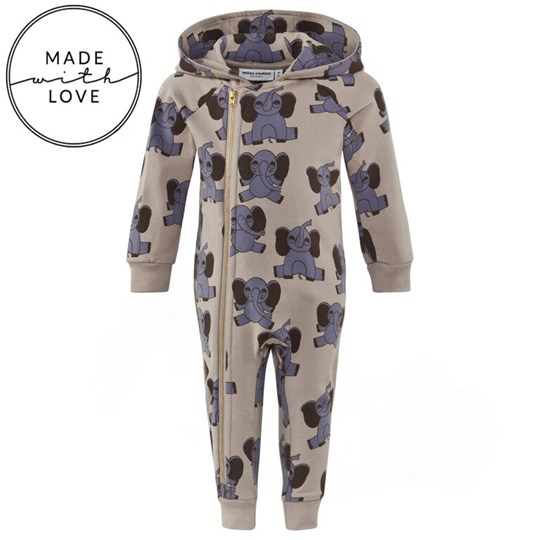 Mini Rodini Elephant AOP Onesie Grey Black