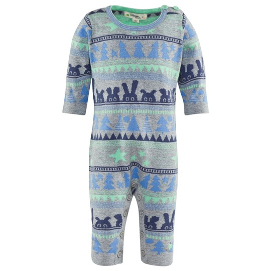 The Bonnie Mob Wilderness Jaquard Knitted Playsuit Blue Sand
