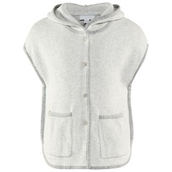 The Little White Company Grey Sl Knit Poncho W Hood And Contrast Trim