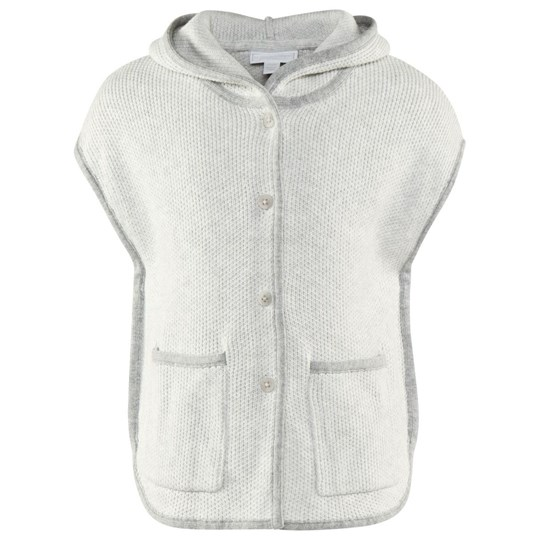 The Little White Company Grey Sl Knit Poncho W Hood And Contrast Trim Grå