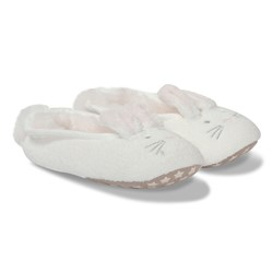 The Little White Company White Fluffy Bunny Slippers