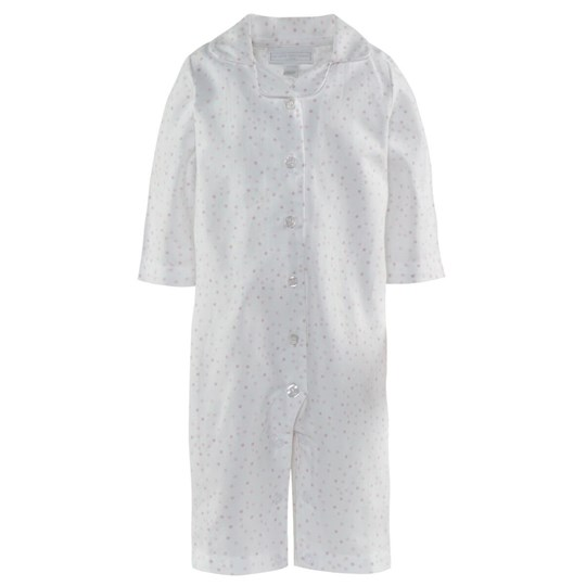 The Little White Company Scatter Spots Flannel Sleepsuit Hvid