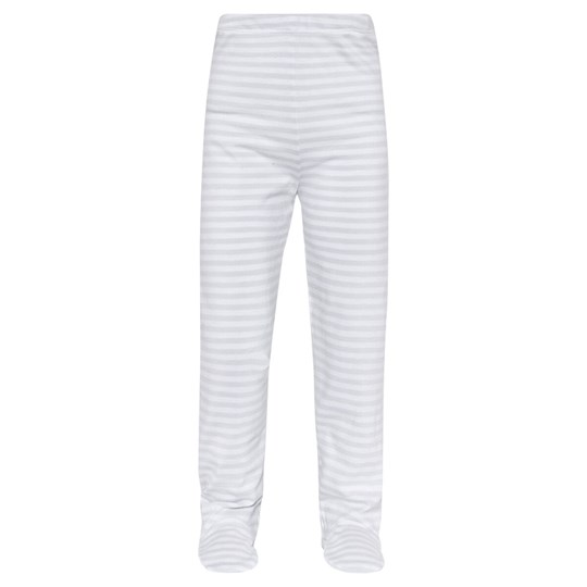 The Little White Company Grey Stripe  Leggigng  W Feet And Cloud Print Underfoot Grå