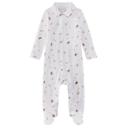 The Little White Company White Ls Babygrow W All Over Gingerbread And Candycane Print W Collar Vit