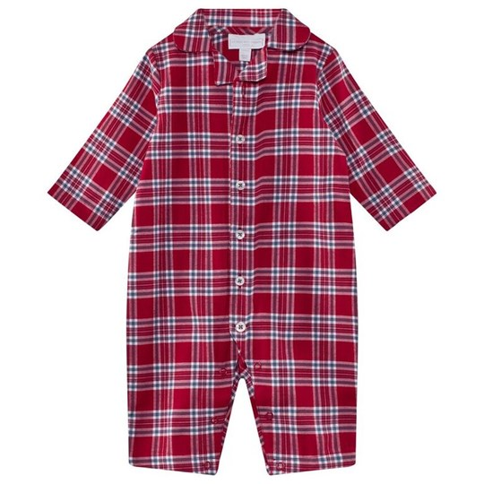 The Little White Company Red Tartan Flannel Sleepsuit Rød